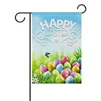 MyDaily Happy Easter Butterfly Colorful Eggs Flowers Decorative Double Sided Garden Flag 12 x 18 inch
