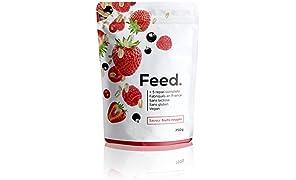 Feed. - 1 Sacchetto 5 pasti Frutti Rosso - Pasto completo, comodo da portare ovunque con sé - 100% Vegano - Senza Gluteine - Senza lattosio - Senza OGM - 750g