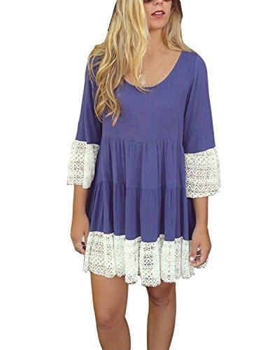 Sitengle Damen Langarmshirt Kleider Casual Lace Oberteile Bluse Rundhals Langarm Frauen T-Shirt Tops Faltenkleid Mini Kleid Blau