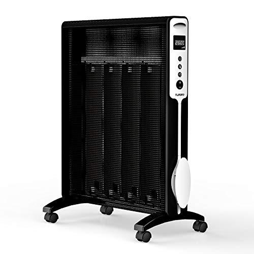 TURBRO Arcade HR1020 Heizung Mica Wärmewelle heizgerät 2000W, Elektrische Heizung mit einstellbarem Thermostat, Timer und Fernbedienung, leise für Zuhause und Büro 220-240V (Schwarz) (Gas-heizung Keller)