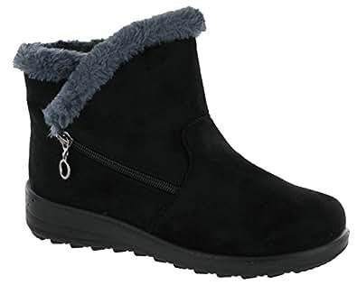 Cushion Walk Olivia Fur Lined Ankle Boots Side Zip Lightweight Soft Warm Ladies (UK 3, Black)