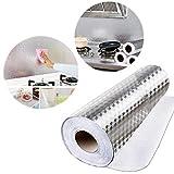 Carta da parati da cucina impermeabile a prova di olio, nastro adesivo in alluminio per la riparazione di tubi di riscaldamento, a prova di umidità, adesivo per armadietti da cucina 61 x 500 cm.