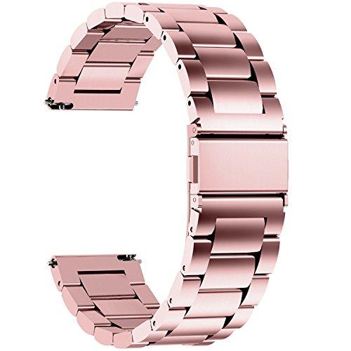 Fullmosa Edelstahlarmband für Uhr,Metall Uhrenarmbänder mit Schnellverschluss geeignet für Damen&Herren, 18mm Rosépink