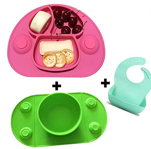 Bambini Tovaglietta in Silicone con Piatto Forte Ventosa Commestibile Piastra Divide Antiscivolo per Neonato Bambino, migliore per seggiolone (pink and green)