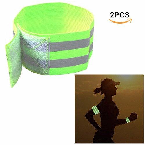 Pulseras reflectantes de noche de seguridad, EFORCAR Cinturón de brazo Nocturno Brazalete Correas de pierna para deportes al aire libre Running Cycling Jogging (Pack of 2) (verde)