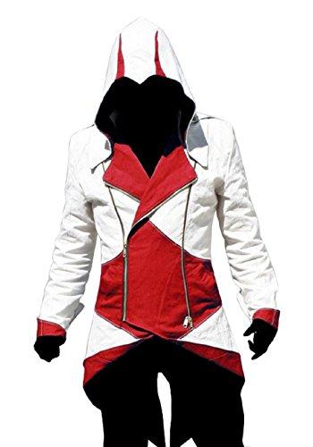 Weibliche Mörder Kostüme (Cosplay Jacke (weiß und rot Größe)