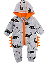 9e1c3bf1fb2e3 erthome Baby Boy Clothes, 0-24 Months Newborn Baby Boys Girls Dinosaur  Zipper Hooded Romper Jumpsuit Outfits…