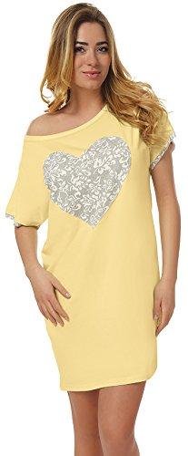 Italian Fashion IF Damen Nachthemd Maya 0114 (Gelb/Grau, L)