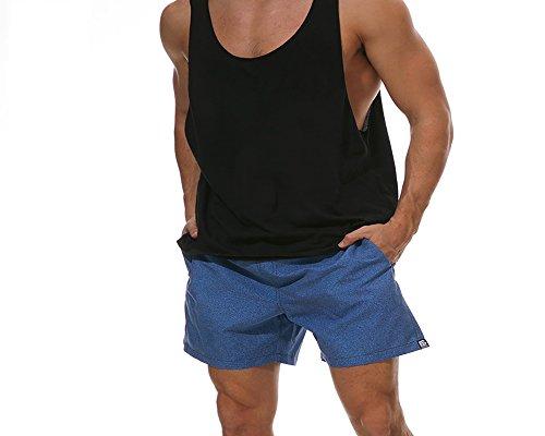 Lamowda Pantaloni da spiaggia estate nuovi pantaloni da spiaggia per uomo sciolti rapidamente asciutti quattro punti (Color : Cowboy, Size : L)
