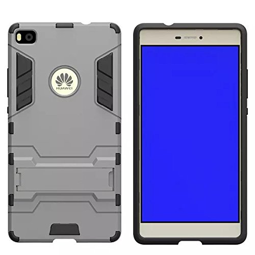 HUAWEI Case Cover HUAWEI P8 Cover, 2 In 1 Neue Armour Tough Style Hybrid Dual Layer Defender PC Hard Back Abdeckung mit Ständer Shockproof Fall Für HUAWEI P8 ( Color : Blue , Size : HUAWEI P8 ) Gray
