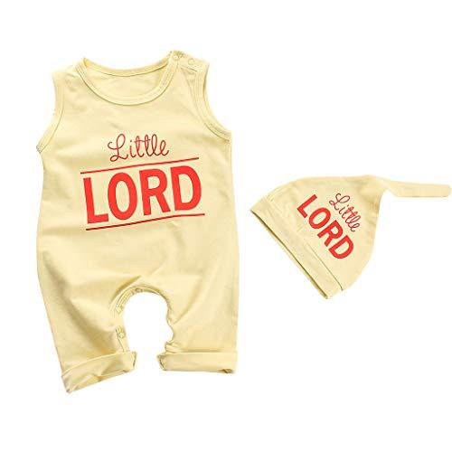 SANFASHION Babybody Baby Bodys Jungen Mädchen Unisex Ärmellos Strampler + Hut Kostüm Jumpsuit Set (90, Gelb) (Kinder Fett Mann Kostüm)