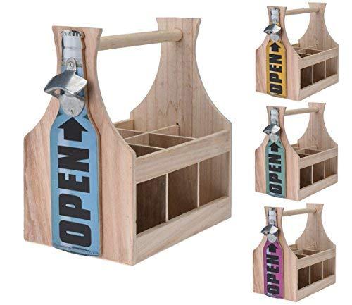 Spetebo Holz Flaschenträger mit Flaschenöffner - Flaschenhalter Bierträger Flaschenkorb -