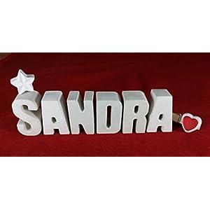 Beton, Steinguss Buchstaben 3 D Deko Schriftzug Namen SANDRA als Geschenk verpackt!