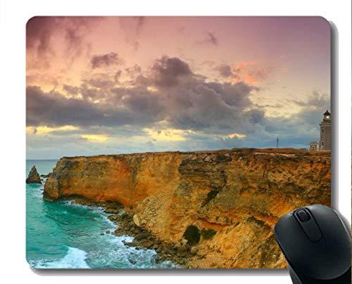 Yanteng Naturkautschuk-Mauspad Bedruckt mit Sea Rock Cliff Ocean Leuchtturm - Genähte Kanten