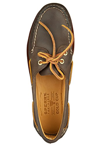 Sperry Herren Bootsschuhe Authentic Original 2-Eye Gold handvernähtes Leder, vergoldete Ösen Brown