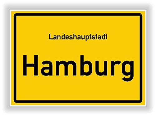 Ortsschild - HAMBURG - Hauptstadt - Landeshauptstadt - Ortseingangsschild Deko Bild - Kunstdruck Poster