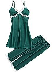 9bdbd27ad9 Proumy Conjunto de Pijamas de Seda Mujer Verano Camisola de Encaje Floral  con Pantalones Largos Ropa