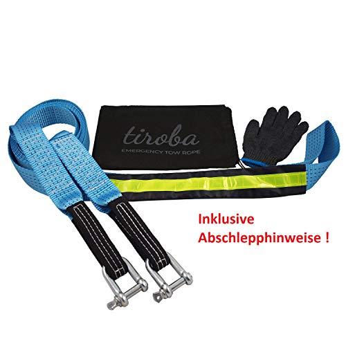 Power Abschleppseil | für jedes Fahrzeug bis SUV Kompaktklasse | INKL. gedruckter Abschlepphinweise | 5m Länge bis 8ton Zugkraft | verstärkt & reflektierend | inkl. Aufbewahrungstasche + Handschuhe