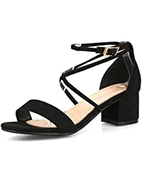 a8ca564039 Smilice Women Dressy Plus Size 31-47 EU Cross Strap Shoes Open Toe Block  Heel