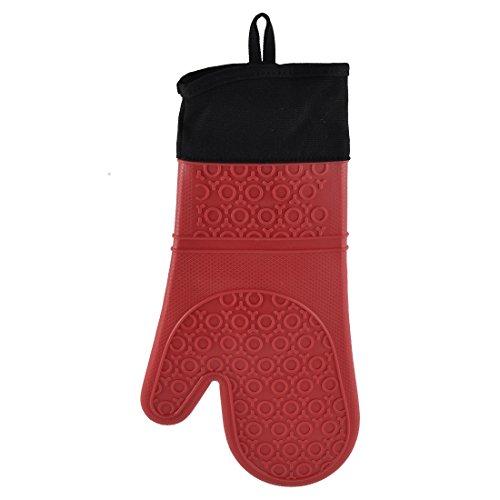 Sourcingmap® Küche Kochen Grillen Hitzebeständig Rutschfest Ofen Mitt Handschuh Extra lang rot DE de Cotton Blend Liner