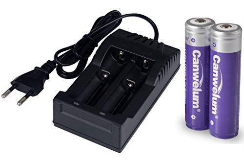 Canwelum 3,7V Lithium-Ionen 18650 Akku und Ladegerät, Wiederaufladbare Li-ion 18650 Batterie, Li-ion 18650 Akku Geschützt - Anwendbar für Taschenlampe oder Stirnlampe LED, Nicht für E-Zig (2 x Akkus und 1 x Ladegerät)