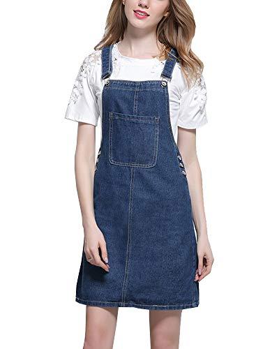 Shengwan Damen Kurze Jeanskleid Trägerrock Verstellbarer Schultergurt Jeans Latzrock Latzkleid Dunkelblau S