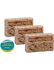 savons 3x100gr huile d'argan bio - ROSE PETALES + l'échantillon