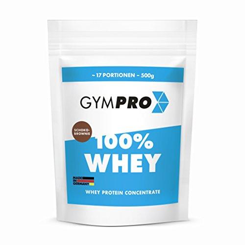 GymPro 100% Whey Protein Pulver zum Muskelaufbau und Abnehmen. Whey Protein Konzentrat Eiweiß mit Aminosäuren (BCAA) - Hergestellt in Deutschland (Schoko-Brownie) (Ohne Schokolade Brownie Fett)
