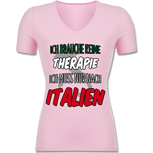 Länder - Ich brauche keine Therapie ich muss nur nach Italien - Tailliertes T-Shirt mit V-Ausschnitt für Frauen Rosa