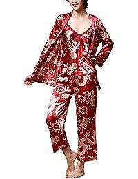 92907fc79 Mujer Albornoz Tapas del Tanque Pants Cardigan 3 Piezas Primavera Conjunto  De Pijama Satín Otoño Silk Elegante Moda Casuales…