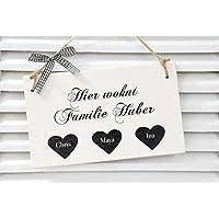 Haustürschild - Hier wohnt Familie - in weiß / schwarz Vintage - personalisiert