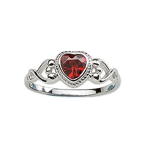 Precious Pieces Sterling-Silver-Ring für Mädchen, Cubic Zirkonia Januar-Geburtsstein, Baby-Ring.