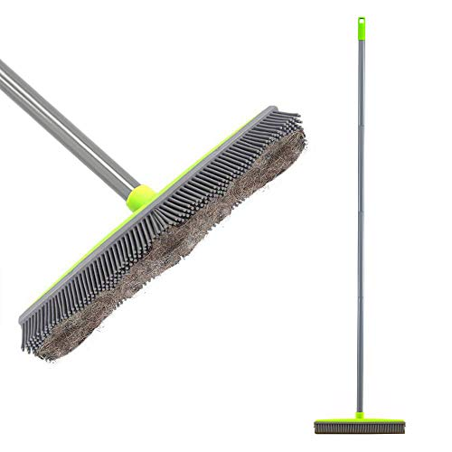 Push Broom Long Handle Rubber Bristles Sweeper Squeegee Edge 59 inches Scratch Free Bristle Broom for Pet Cat Dog Hair Carpet Hardwood Tile Windows Clean Water Resistant (Multi Segment Handle)