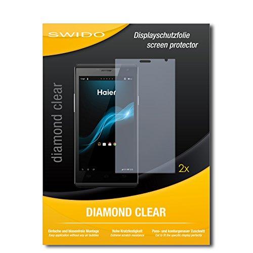 SWIDO 2 x Bildschirmschutzfolie Haier Phone W858 Schutzfolie Folie DiamondClear unsichtbar