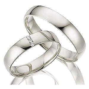 2 x 375 Trauringe Weißgold ECHT GOLD Eheringe schlichte Spannring LM.05.V2.WG Juwelier Echtes Gold Verlobunsringe Wedding Rings Trouwringen