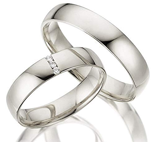 2 x 333 Trauringe Gelbgold ECHT GOLD Eheringe schlichte Spannring LM.05.V2.WG Juwelier Echtes Gold Verlobunsringe Wedding Rings Trouwringen (Diamant)