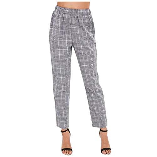 Pantalones Casual Mujer, Pantalones Oficina Cuadros Pantalón Largo Cintura Alta Pantalones Lápiz Leggings Sueltos con Bolsillos Pantalones de Trabajo para Otoño y Invierno RISTHY