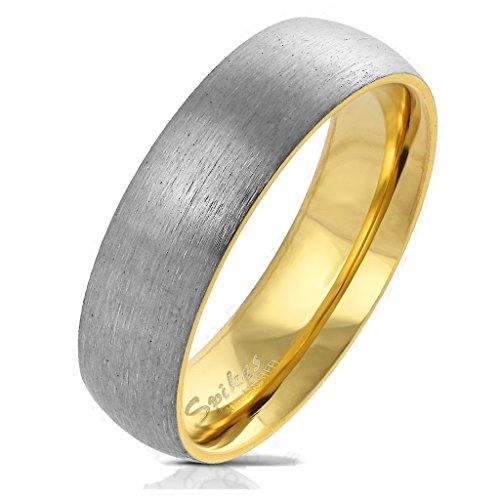 Paula & Fritz Gebürsteter Titan-ring Titanium 6mm breit Damen-ring Verlobungs-ring Freundschaftsring Herrenring Partnerring gold 66 (21)