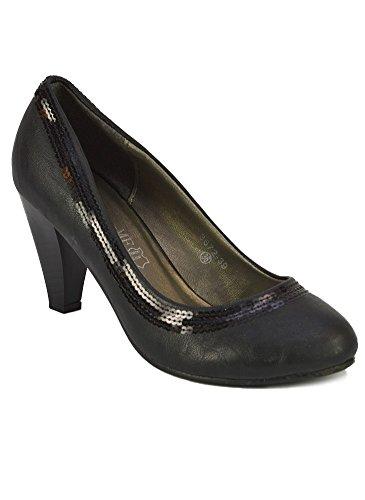 Escarpins Liseré Sequins Noirs Noir