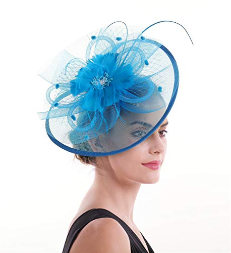 b2fba6267721b Lucky Leaf Femmes fille Bibis & cheveux Clip épingle chapeau plume mariage  Cocktail Tea Party Hat