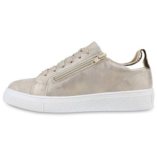 Damen Sneakers Metallic Sportschuhe Zipper Schnürschuhe Gold
