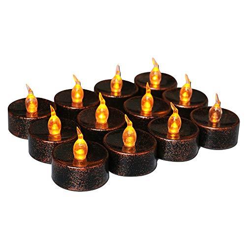 Retro flammenlose LED Teelichter 12 flackernde Kerzen LED batteriebetriebene Kerzen Elektrische Licht Kerze für Halloween, Weihnachten, Party, Tischdekoration, bernsteinfarbene Glühbirne Schwarz/Braun (Schwarz Halloween Led Kerzen)