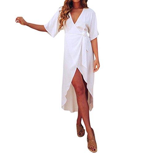 Trada Kleid, Frauen Sommer Boho Casual Lange Maxi Abend Party Beachwear Strandkleid Sommerkleid Partykleid Feiertagskleid Elegant Cocktailkleid V-Ausschnitt Casual Lang Kleid (S, Weiß)