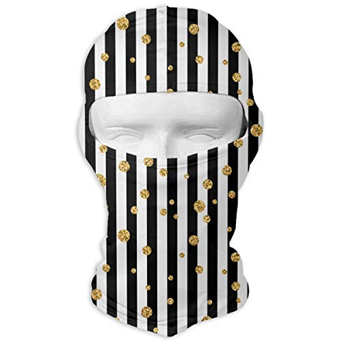 Miedhki Christmas Gold Polka Dot Men Women Balaclava Neck Hood Full Face Mask Hat Sunscreen Windproof Breathable Quick Drying Polka Dot Hood