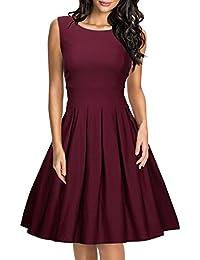 38585e19ca359 Miusol Damen Elegant Rundhals Abendkleid Etuikleid Polka Dots Cocktailkleid  Faltenrock Kleid Blau EU 36-46