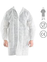 Bata Visita Desechable con Velcro - Material: Polipropileno - Color: Blanco - para Laboratorios, Industrias de…
