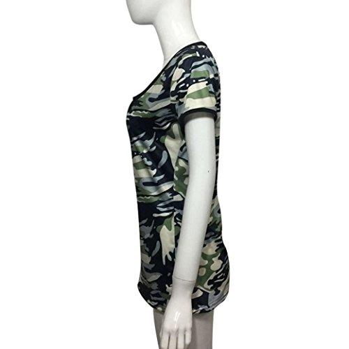 women t-shirt, Transer ® Femmes Sexy Blouse Camouflage manches courtes V cou Top été Vert