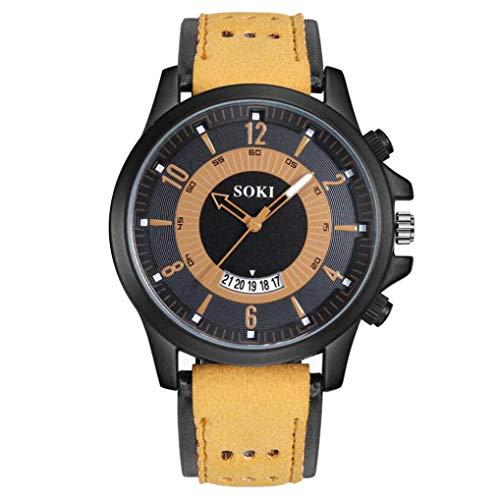 Lederarmband Klassische Luxus-Mode-Silikagel-Leder-Mann-Glasquarz-analoge Datums-Uhren Herren Armbanduhr Chenang Machine mit braunem Lederband schwarzem Ziffernblatt Armbanduhr