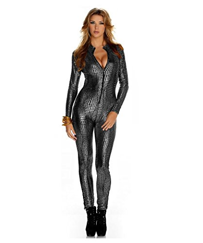 Frauen Shiny Catsuit Snakeskin Muster Unitard Kunstleder -Overall-Cosplay-Dame-Mädchen-Abendkleid Overall Sexy Party Clubwear (L, Silver)