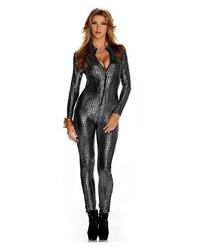 Frauen Shiny Catsuit Snakeskin Muster Unitard Kunstleder -Overall-Cosplay-Dame-Mädchen-Abendkleid Overall Sexy Party Clubwear (L, (Catsuit Kostüm Unitard)